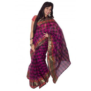 Sk Textile Women Tant Cotton Saree Multi-Color