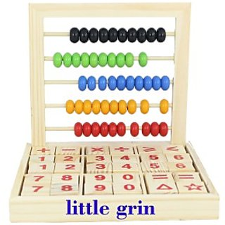 Little Grin 30 Pcs Abc / 123 Wooden Blocks Letters Numbers With Abacus 50 Beads - Classic Educational Learning Toy (Multicolor)