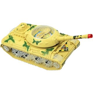 Littlegrin Military Tanker Toy With Bump And Go Action (Multicolor)