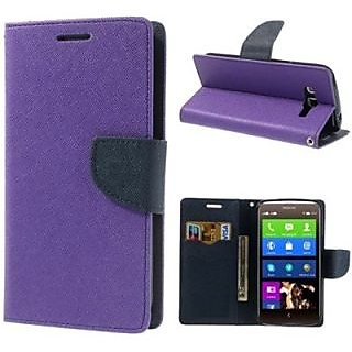 New Mercury Fancy Diary Wallet Flip Case Back Cover for Micromax A316  (Purple )