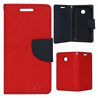 New Mercury Fancy Diary Wallet Flip Case Back Cover for Micromax A316  (Red)
