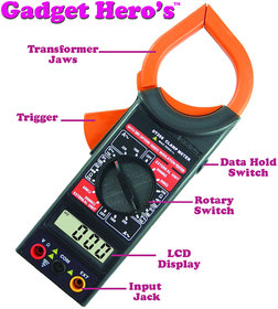 Gadget Heros Digital Clamp Multimeter Ammeter Tong Tester. AC/DC Continuity Current, Fuse  Diode Protection  Voltage