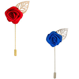 Verceys Combo Of Red Rose And Blue Rose Lapel Pin Brooches