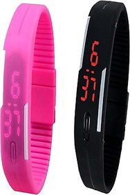 Opulent Combo of Led Band Pink + Black Digital Watch - For Boys, Couple, Girls, Men, Women