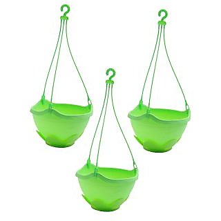 Hanging planter Green, Plastic Pot (Set of 3)