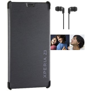 RealDealz Durable PU Leather Flip Cover For Sony Xperia Z3 (Black)+3.5mm Stereo New Earphones Accessory Combo