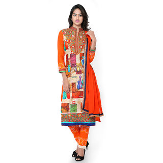 Vastrani Cream And Orange Cotton Embroidered Party Wear Unstitched Dress Material 373Dr3095A