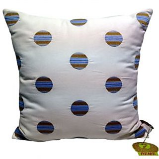 Pearl Cushion Cover With Circled Embroidery