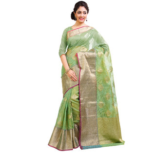 Rajnandini Womens Ethnic Wear Green  Banarasi Super Net  Saree with Zari  Woven Border