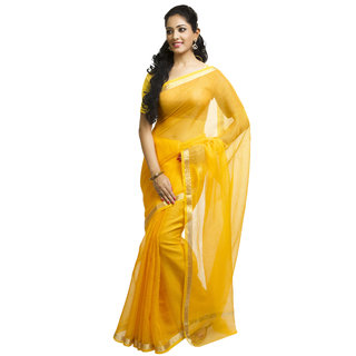 RAJNANDINI Yellow Banarasi Silk Plain Saree With Blouse