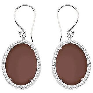 10K White Gold Chocolate Chalcedony And Diamond Earring 30.16 Ct