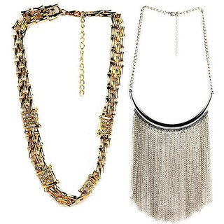 Jazz Jewellery Gold and Silver Plated Choker Combo Necklace Set Girls And Women(JNK37)