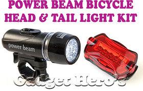 Gadget Heros Powerbeam Bicycle Headlight  Taillight Kit Black