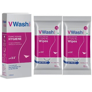 VWash Expert Intimate Hygiene Wash 100 ml + Wipes-10s pack 2