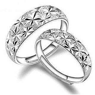 GirlZ! Cute Titanium Steel Couple Engraving Stars Adjustable Wedding Rings (2 pieces - his and her)