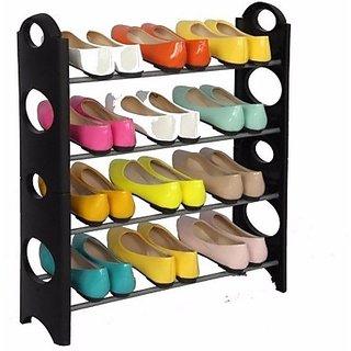 Stainless Steel, Polypropylene Standard Shoe Rack (Black, 4 Shelves)