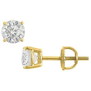 14K Yellow Gold Round Cubic Zirconia Stud Earring AAA Quality Cz 8 Carat