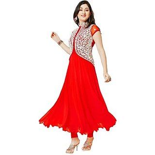 shri womens Cotton Semi-stitched Salwar Suit Red