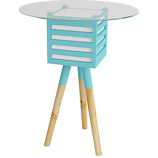 SMALSHOP Pride Mellow Wood Glass Lamp Table Round Top- 18 X 18 X 30 Ht- Blue
