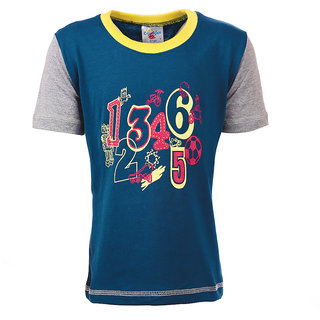 Crackles Navy BlueGrey Round Neck Cotton T-shirt for Boys