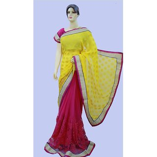 Nitya Collection Pink & Yellow Georgette Embroidered Saree With Blouse