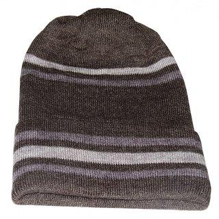 Modo Vivendi Winter Warm Woolen Fashionable Caps For Men and Women ( Dark Brown 2 )