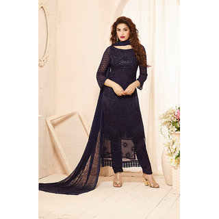 Fabfirki Latest Fashion Designer Blue Dress Material
