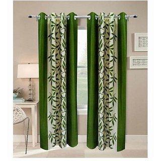 Panipat Textile Hub Green Kolavery Polyster Eyelet Door Curtains set of 2 Size 4x7 (PT2C-157)