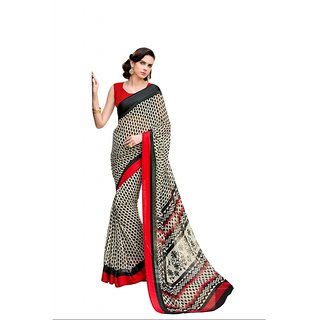 Iambridal Black & Red Georgette Printed Saree With Blouse