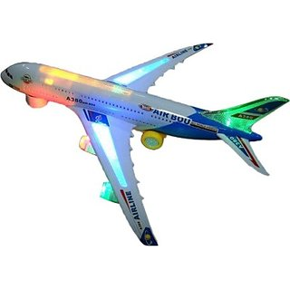 AirBus Musical Lights Self Rotating Aeroplane Toy (White)