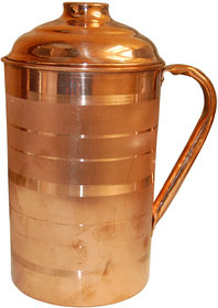 Artandcraftvilla Handmade Pure Copper Water Jug Pitcher 1600 ML for use Storage Water Drink Water Serving Gift Item