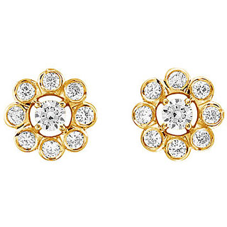 Diamond Flower Earring 14K Yellow Gold - 0.75 Ct Diamonds