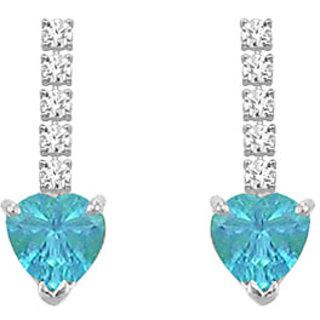 Diamond And Blue Topaz Earring 14K White Gold - 1.25 Ct