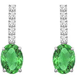 Diamond And Emerald Earring 14K White Gold - 1.25 Ct