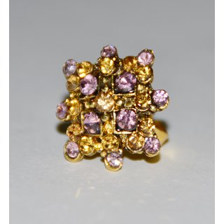 Purple and golden color studed ring