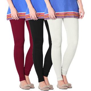 NICEFIT Womens Leggings Pack of 3(Black,Cream,MaroonS)