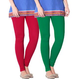 NICEFIT Womens Leggings Pack of 2(Red,GreenS)