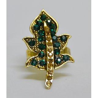 Antique finish Green and golden color studed Leaf shape finger ring