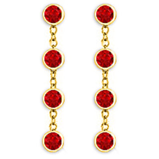 Diamonds Ruby Earring With Tiffany Style Chains In 14K Yellow Gold One Carat