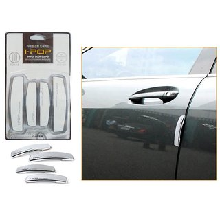 i-pop Simple White Car Door Scratch Guard Protector ipop - For Mahindra E2o (reva)