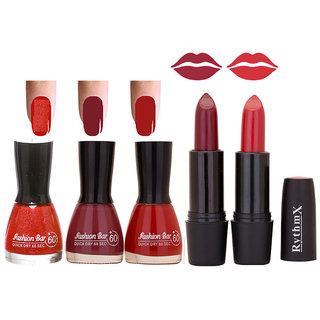 New Imaportant Black Cap Nail Polish And Glorious Lipsticks Combo Blkcap 3.568.56 Ryth Blk 16.24