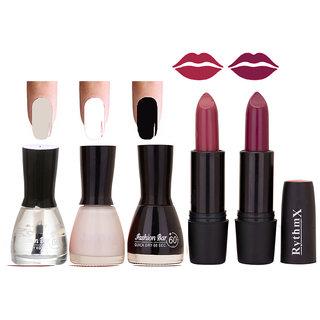 New Imaportant Black Cap Nail Polish And Glorious Lipsticks Combo Blkcap Top.Wht.Blk Ryth Blk 19.20