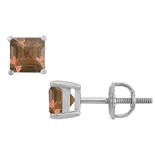 Stylish Smoky Topaz Stud Earring 14K White Gold - 2.00 Ct