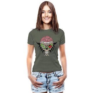 Threadcurry Green Cotton Delightful Brains Graphic Print Womens T-Shirt