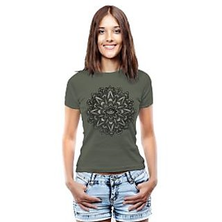 Threadcurry Green Cotton Iblossom Gray Graphic Print Womens T-Shirt