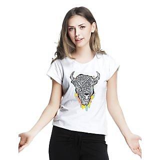 Threadcurry White Cotton Bullishness Graphic Print Womens T-Shirt