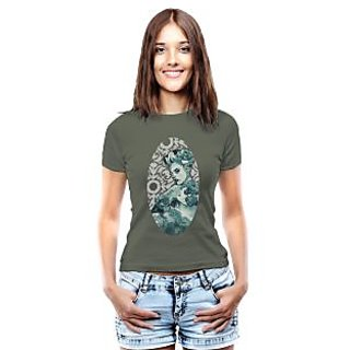Threadcurry Green Cotton Natural Crown Graphic Print Womens T-Shirt