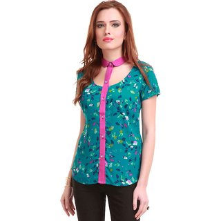 Cut Out Collar Teal Floral Shirt