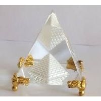 CRYSTAL GLASS PYRAMID WITH GOLDEN METAL BASE, HEALING CRYSTAL, FENG SHUI PYRAMID