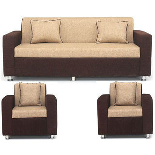 Bharat Life Style 5 Seater in Cream Brown Solidwood upholstery Sofa Set with 4 Cushions (Multicolor)